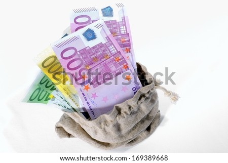 Euro Money in the bag - stock photo