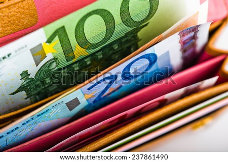 Euro money in wallet - stock photo