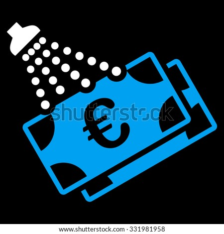 Euro Money Laundry glyph icon. Style is bicolor flat symbol, blue and white colors, rounded angles, black background. - stock photo