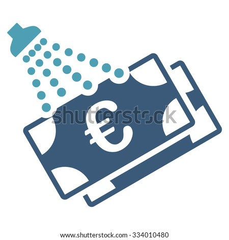 Euro Money Laundry glyph icon. Style is bicolor flat symbol, cyan and blue colors, rounded angles, white background. - stock photo