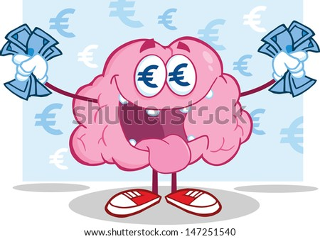 Euro Money Loving Brain Character. Vector version also available in gallery - stock photo