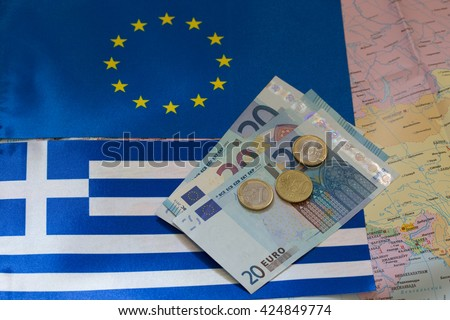 Euro money on the background of the Greece and EU flag.greece cr - stock photo