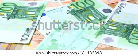 euro money on the table. - stock photo