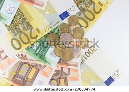 euro money on white background - stock photo