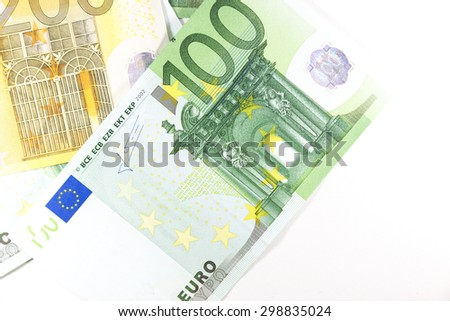 euro money on white background