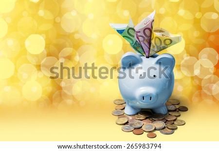 Euro, money, piggybank. - stock photo
