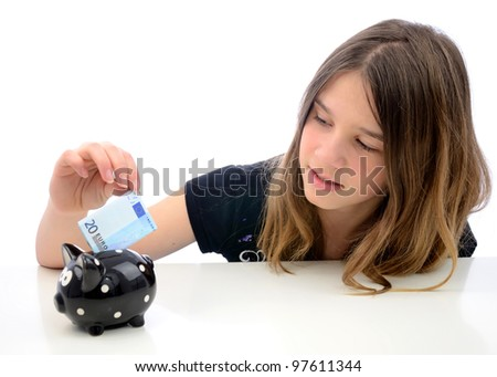 Euro money savings for teenager - stock photo