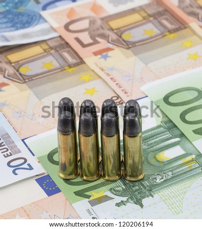 Euro money with bullets