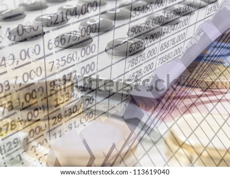 Euro money with calculator and graph - stock photo