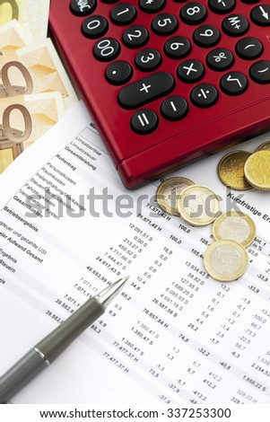 Euro notes and accounting document close up