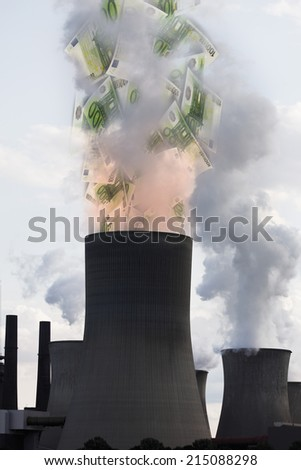 Euro notes coming out of smoke stack - stock photo