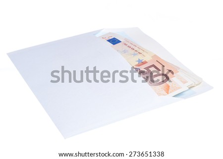 Euro notes in a envelope isolated on white background
