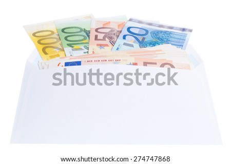 Euro notes in a envelope isolated on white background - stock photo