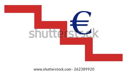 Euro on a stair down - stock photo