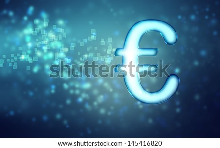 Euro on abstract blue light background