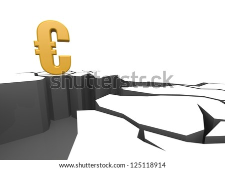 Euro on the cliff - stock photo
