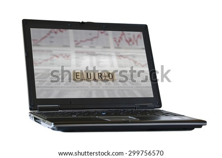 EURO on the screen of a isolated  laptop