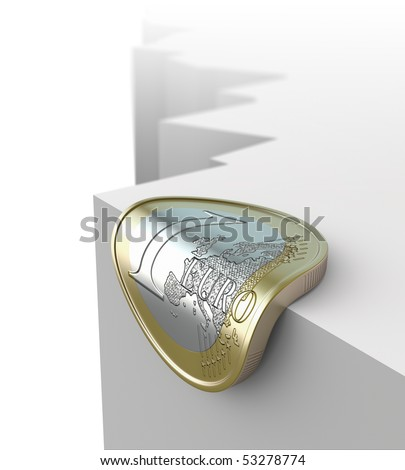 Euro over abyss - stock photo