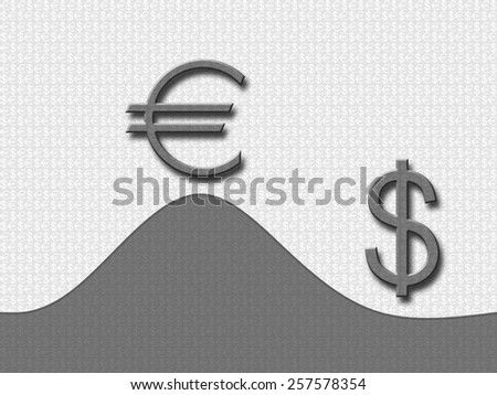 Euro over the dollar leads, euro versus dolar. - stock photo