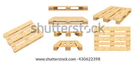 Euro pallet. Isolated on white background. 3d render
