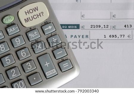euro pay slip calculator close payroll stock photo edit now