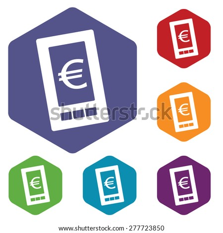 Euro phone rhombus icons set in different colors - stock photo