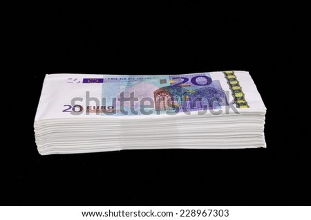 Euro Pile Banknotes Copies over a Black Background