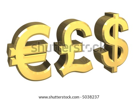 euro, pound, dollar symbol in gold (3D)