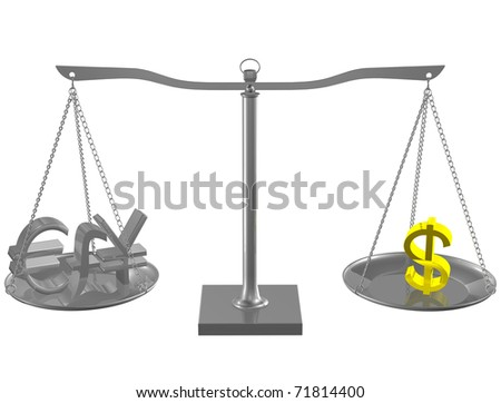 Euro, Pound, Yen and Gold Dollar on Silver balance on white isolated background - stock photo