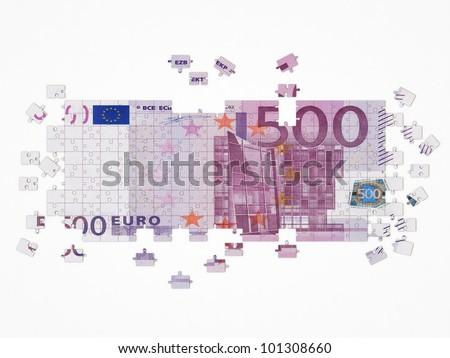 euro puzzle - stock photo