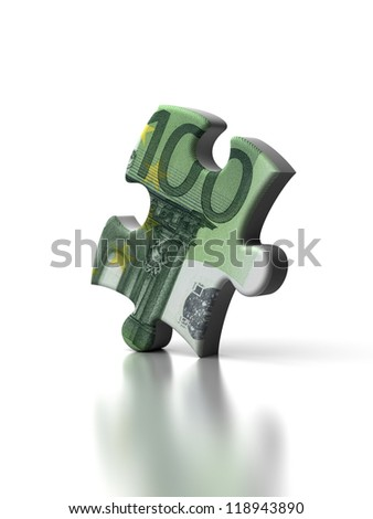 Euro Puzzle (high resolution computer generated image) - stock photo