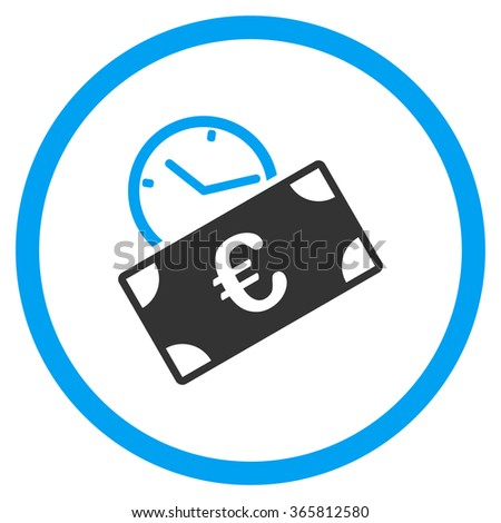 Euro Recurring Payment glyph icon. Style is bicolor flat circled symbol, blue and gray colors, rounded angles, white background. - stock photo