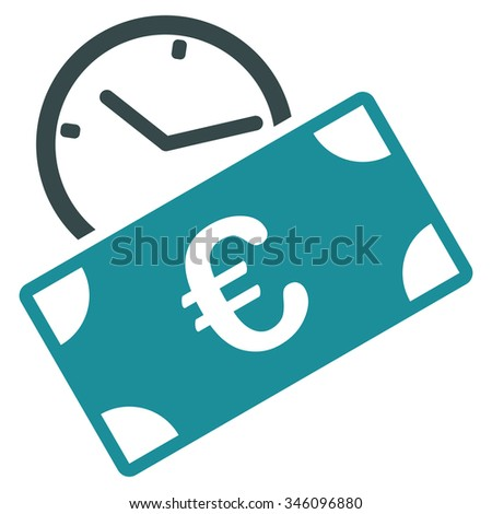 Euro Recurring Payment glyph icon. Style is bicolor flat symbol, soft blue colors, rounded angles, white background. - stock photo