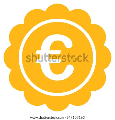 Euro Reward Stamp glyph icon. Style is flat symbol, yellow color, rounded angles, white background.