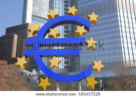 Euro sign and banking Area in Frankfurt, Germany - stock photo