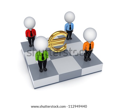 Euro sign and 3d small people on a dartboard.Isolated on white background.3d rendered.