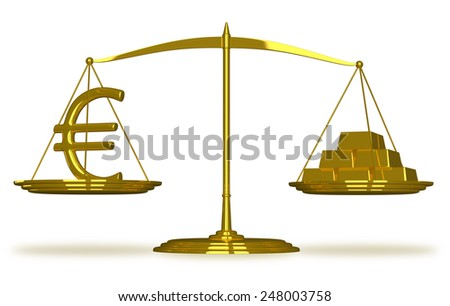 Euro sign and gold bars on golden scales isolated