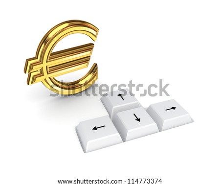 Euro sign and keyboard buttons.Isolated on white background. - stock photo