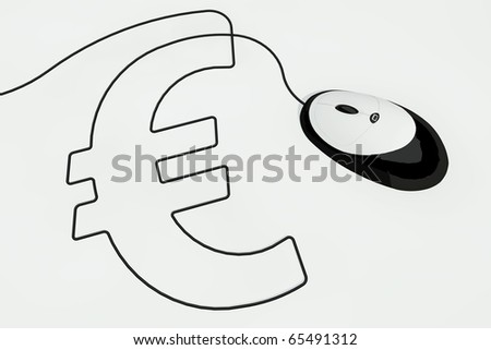 euro sign drawn with computermouse wire - stock photo