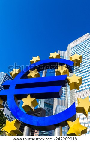 Euro sign. European Central Bank headquarters in Frankfurt in Germany  in summer day - stock photo