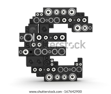 Euro sign from black woods hi-fi speakers sound systems - stock photo
