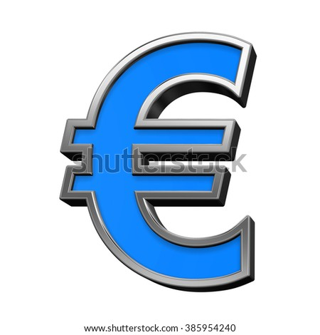 Euro sign from blue with silver shiny frame alphabet set, isolated on white. Computer generated 3D photo rendering.