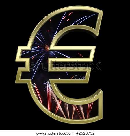 Euro sign from firework with gold frame alphabet set, isolated on black. Computer generated 3D photo rendering.