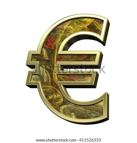 Euro sign from fractal alphabet set isolated over white. 3D illustration.