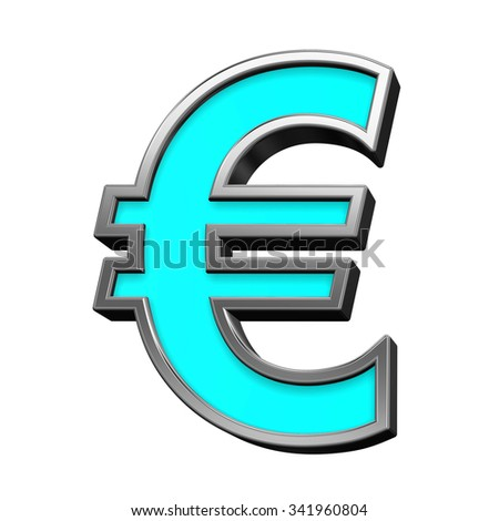 Euro sign from turquoise with chrome frame alphabet set, isolated on white. Computer generated 3D photo rendering.