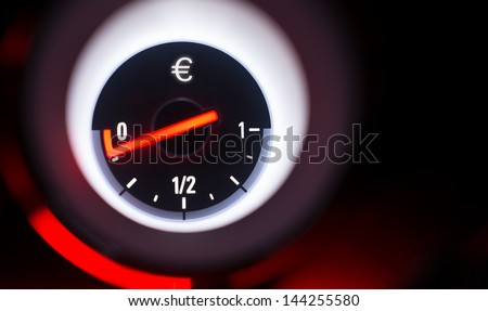Euro sign fuel gauge at empty. - stock photo