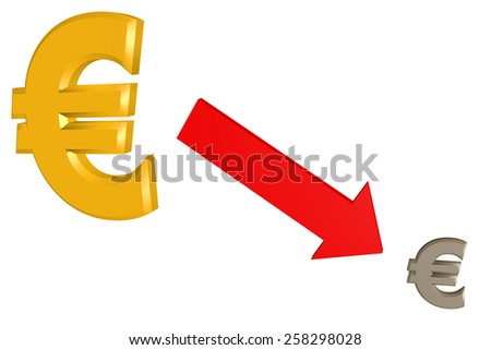 Euro sign in descent - stock photo