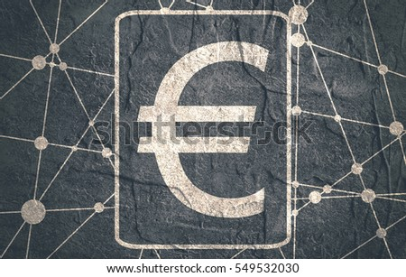 Euro sign. Molecule And Communication Background. Concrete textured. Connected lines with dots.