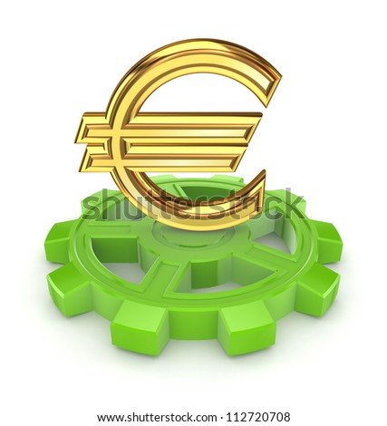 Euro sign on a gear.Isolated on white background.3d rendered. - stock photo