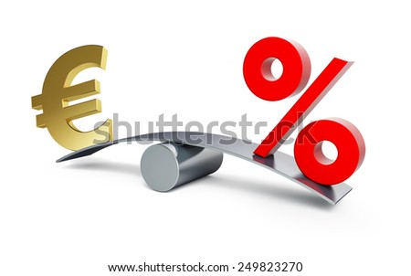 euro sign on a swing with a percent sign on a white background - stock photo